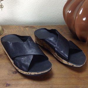 Fitflop Black Leather Crisscross Strap Slides